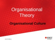 Topic 7 - Semester 2 (2015) Organisational Culture