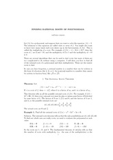 Lecture on Finding Rational Roots of Polynomials