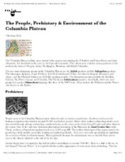 "The People, Prehistory & Environment of the Columbia Plateau â€"" North American Indians"
