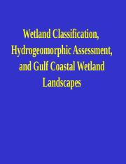 MSection 8. Wetland Classification, Hydrogeomorphic Assessment, and Gulf Coastal Wetland Landscapes.