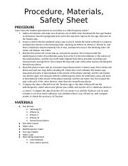 Procedure, Materials, Safety Sheet Hanna Ziyad [Graded]
