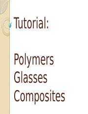 Tutorial - Polymers Glasses Composites