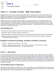 Topic 4.1 - Nuclear Function - RNA Transcription - Online .