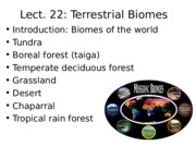 Lecture Terrestrial Biomes