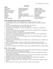 Worksheet Unit 6 - Membranes