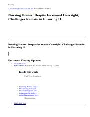 Nursing Homes  Despite Increased Oversight, Challenges Remain in Ensuring H...  EBSCOhost.htm