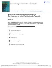 An Evaluation Analysis of E government Development by Local Authorities in Australia