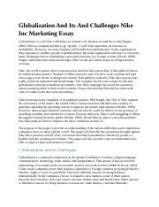 Globalization And Its And Challenges Nike Inc Marketing Essay.docx