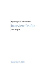 BEH 225 - Final Project Interview Profile