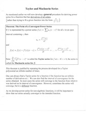 Taylor and Maclaurin Series Notes