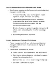Nine Project Management Knowledge Areas Notes