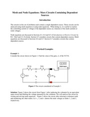 Mesh and Node Equations More Circuits Containing Dependent
