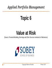 6672 - Topic 6 - Value at Risk.pdf