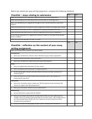 Checklist for essay writing assignment(1)