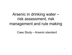 Lecture 8- Arsenic case study
