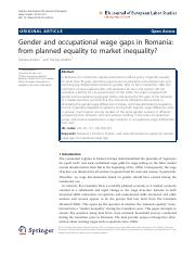 Gender and occupational wage gaps in Romania- from planned equality to market inequality?