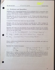 MA306 Predicates and Quantifiers Lecture Notes