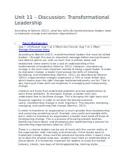 Unit 11 – Discussion- Transformational Leadership.docx