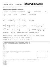 Sample Exam 1 (121) - PHYS 121 Common Exam 1 Sample Exam 2 SCORE