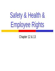 Safety & Health & Employee Rights_cpt 12 & 13_2016