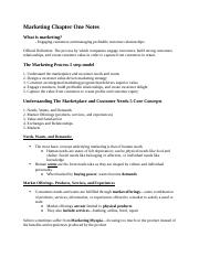 Marketing Chapter One Notes