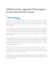 DSWD launches expanded CDD programs for poor and Yolanda hit areas