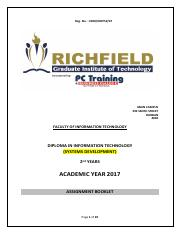 ASSIGNMENT BOOKLET 2017-DIT-2ND YEAR MODULES -SYSTEMS DEVELOPMENT