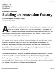 Building an Innovation Factory
