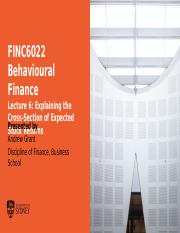 FINC6022 Behavioural Finance L6 - The Cross-section of Expected Stock Returns.pptx