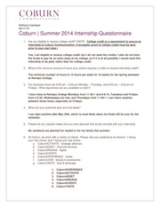 Coburn Communications 2014 Summer Questionnaire