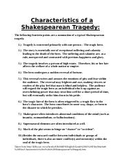 Characteristics of a Shakespearean Tragedy