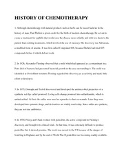 HISTORY OF CHEMOTHERAPY