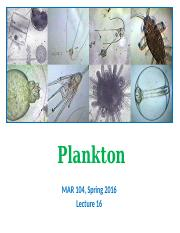 Lect 16 incomplete - Plankton