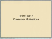 Lecture 3 - Consumer Motivations