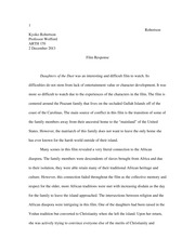Sample Film Response Paper (Daughters of the Dust)