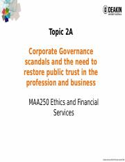MAA250 - 2016 T2 Lecture Notes Topic 2A Corp  Scandals