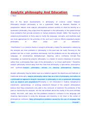 Analytic philosophy And Education.docx