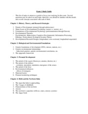 Exam 1 Study Guide Child Psyc