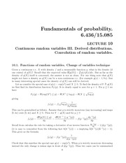 Continuous random variables III notes