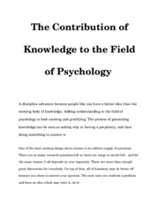 The Contribution of Knowledge to the Field of Psychology