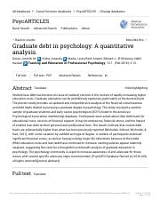 Graduate debt in psychology A quantitative analysis PsycARTICLES ProQuest