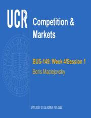 BUS-149 Week 4 Competition and Markets Session 1 - F2016 Students