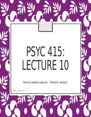 Lecture 10- Thematic Analyses
