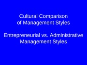 Cultural Comparisons of Management Styles