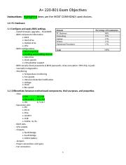 801 Exam Objectives to Review & Highlight.docx