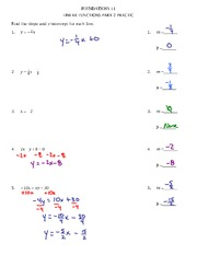 Linear Functions Practice Test Part 2 2011 Solutions