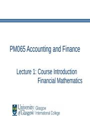 Lecture 1 - Course Intro - Financial Maths