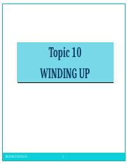 Topic 10 Company Winding-up