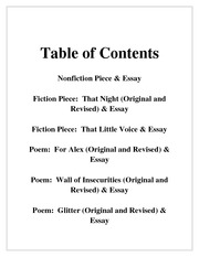 Table Of Contents  Tableofcontents Nonfictionpieceessay  Table Of Contents  Tableofcontents Nonfictionpieceessay  Fictionpiecethatnightoriginaland Revisedessay  Fictionpiecethatlittlevoiceessay Essay Examples High School also English Essay Writer  Family Business Essay