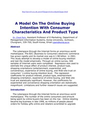 A Model On The Online Buying Intention With Consumer Characteristics And Product Type